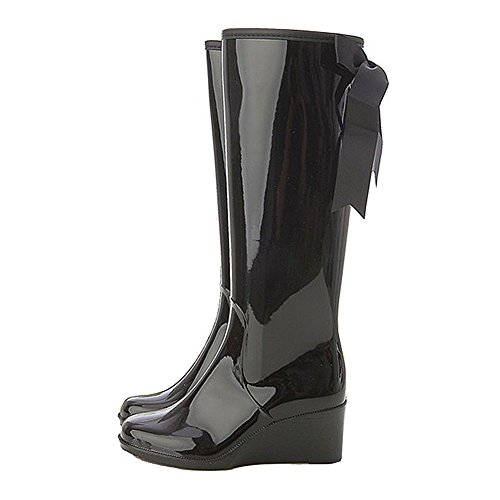 Getmorebeauty Women's Belt Mid Calf Rubber Waterproof Wedges Black Rain Boots 9 B(M) US