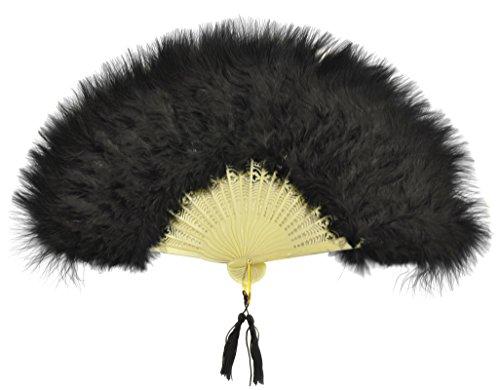 12 Inch Black Fold Out Marabou Feather Fan Classy Costume (Marabou Flapper Fan)