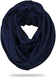 FORBUSITE Stylish Men Cable Soft Knit Infinity Scarf for Winter Navy Blue