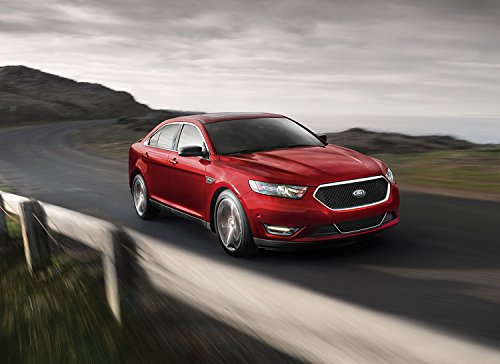 ford-taurus-sho-2015-car-print-on-10-mil-archival-satin-paper-red-front-side-motion-view-16x20