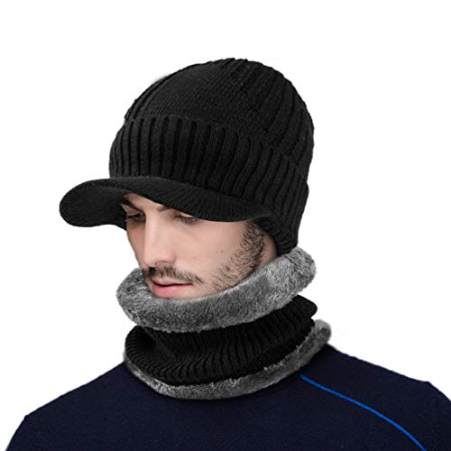 VBG VBIGER 2-Pieces Winter Knit Hat Scarf Set Warm Thick Knit Caps with Visor for Men Women by VBG VBIGER (Image #1)