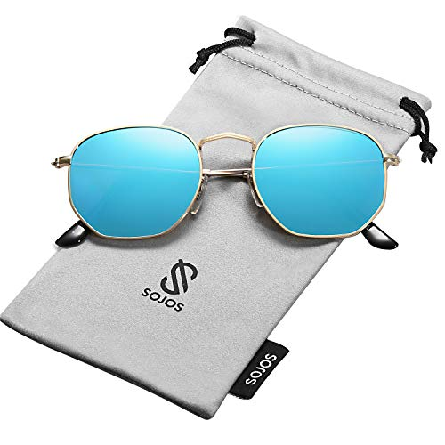 SOJOS Small Square Polarized Sunglasses for Men and Women Polygon Mirrored Lens SJ1072 with Gold Frame/Blue Mirrored Polarized Lens (Celeb Sunglasses)