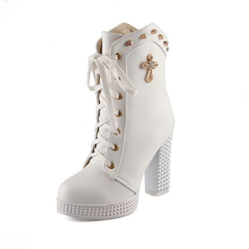 with Bandage WeiPoot High Heels Boots Closed Heads Solid Skull Toe and Round PU Womens White zqrfwzav