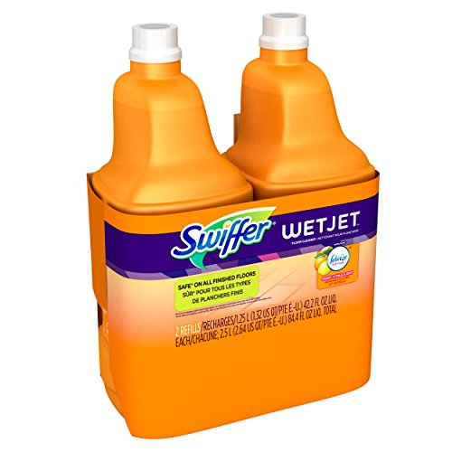 Swiffer Wetjet Hardwood Floor Mopping and Cleaning Solution Refills, All Purpose Cleaning Product, Sweet Citrus and Zest Scent, 42.2 Fl Oz, 2 Pack (Best Way To Clean Concrete Garage Floor)