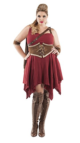 Starline Women's Plus Size Hooded Huntress, As Shown, 1X (Plus Size Viking Warrior Costumes)