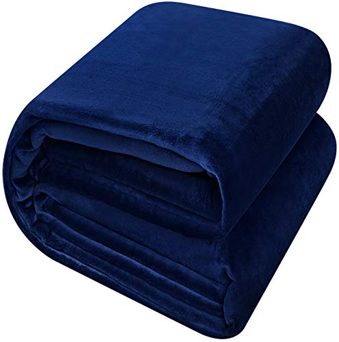 Utopia Bedding Flannel Fleece Luxury Premium Bed Blanket - Plush Fabric Extra Soft Brushed Microfiber - Lightweight, Cozy and Durable - Machine Washable (Queen, Navy)