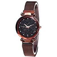 Women's Watches Starry Sky Quartz Analog Watch Round Dial Watch Magnetic Mesh Belt, Brown