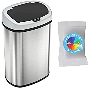 iTouchless 13 Gallon SensorCan Touchless Trash Can with Odor-Absorbing Filter, Stainless Steel, Oval Shape, 49 Liter…