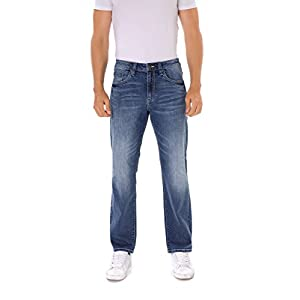 Men's Relaxed Fit Straight Leg Faded Wash Blue Denim Jeans