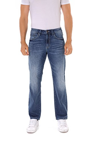 Indigo alpha Relaxed Tapered Fit Faded Wash Blue Denim Jeans for Men(8019,W32/L32) ()