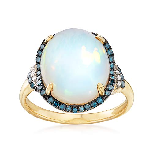 (Ross-Simons Ethiopian Opal and .29 ct. t.w. Diamond Ring in 14kt Yellow Gold)