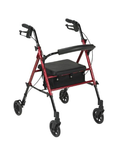Drive Medical Adjustable Height Rollator with 6 Inches Wheels, Red ()