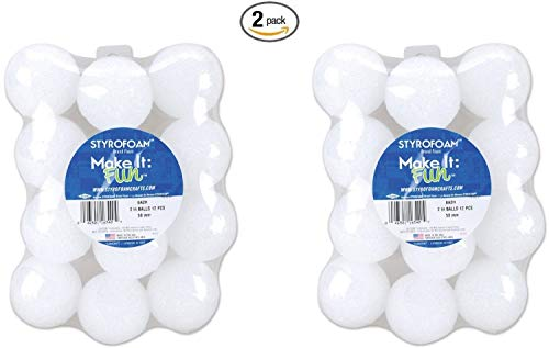 Floracraft Styrofoam Balls, 2-Inch, White, 12 Per Package (2 pack) by FloraCraft