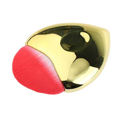 Heart Shaped Face Brush for Powder Cream Blusher Bronzer Cosmetic Applicator (Color - Golden)