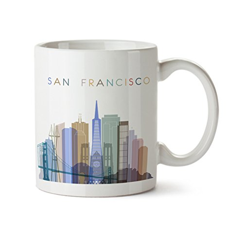 San Francisco City Silhouette View Colorful Minimal Design Coffee Mug - Ceramic - 11 oz - San Francisco Souvenir Cup Mom, Dad, Boyfriend, Girlfriend (San Mug Coffee)