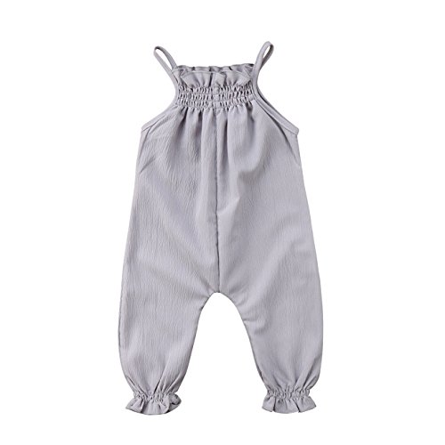 Girl Clothes Pure Color Strap Romper Jumpsuit Outfits Sunsuit Baby Clothing Gray 24M ()