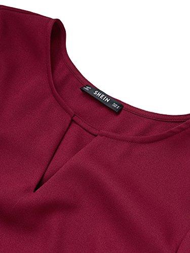Blouse Casual Cape T DIDK Shirts Top Bordeaux1 Manche Femme Coupe Rgulire Col Dentelle Rond avec Rouge 5Sq5OA