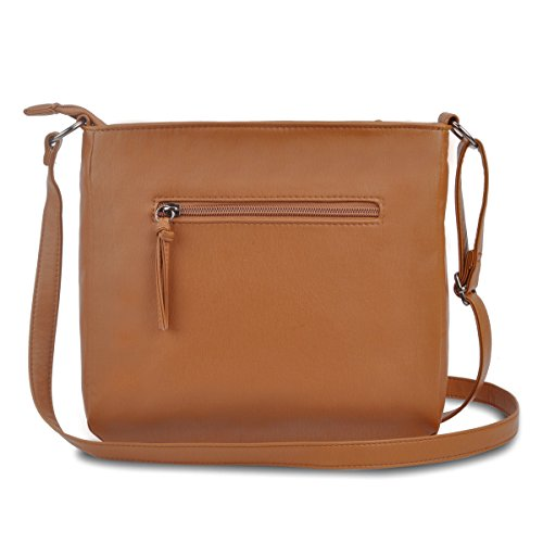 Capacity Bags brown for Several Bag Crossbody Crossbody Women 1 with with Pockets Zipper Large RZxtWXw1q