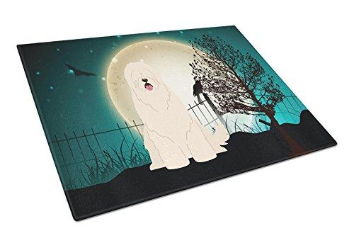 Caroline's Treasures BB2214LCB Halloween Scary South Russian Sheepdog Glass Cutting Board, Large, Multicolor