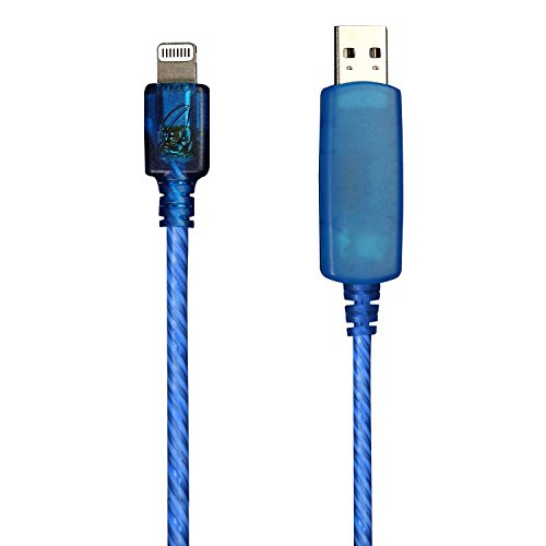 Pilot Electronics EL-1402B Electroluminescent V2 Charge/Sync iPhone 5 Cable, Blue