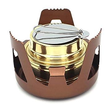 Henreal Mini Estufa a Prueba de Viento portátil de la Estufa del Alcohol del Alcohol para Acampar Que Camina al Aire Libre: Amazon.es: Hogar