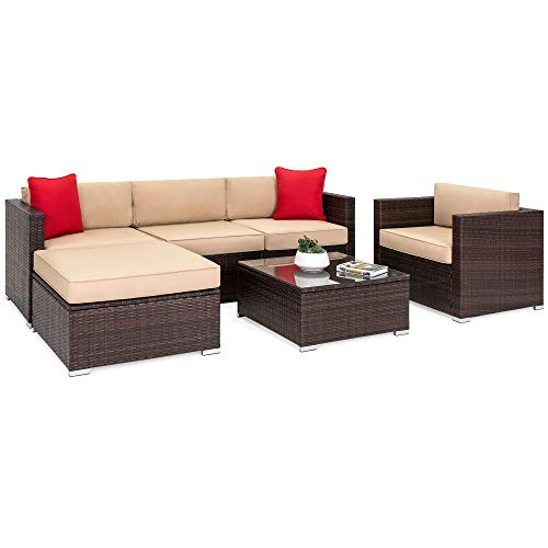 (Best Choice Products 6-Piece Outdoor Patio Sectional Wicker Furniture Set w/Sofa, Seat Cushions, Accent Chair, Ottoman, Glass Coffee Table, 2 Red Pillows for Backyard, Pool, Garden -)