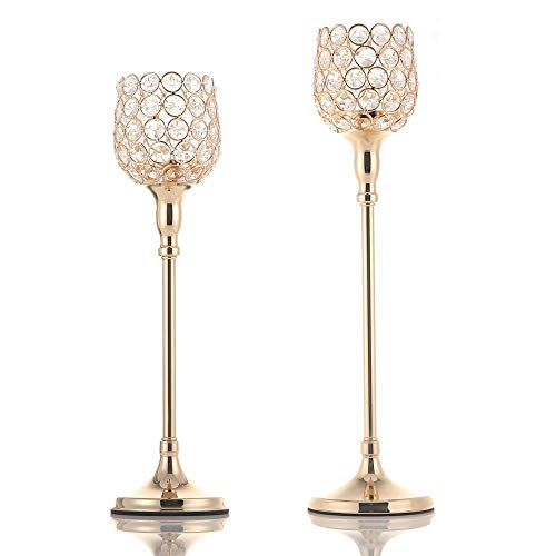VINCIGANT Gold Pillar Candle Holders Set of 2 for New Year Wedding Home Party Decoration Centerpieces,Anniversary/Housewarming Gifts ()