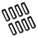 8 Pack 16mm Rubber Replacement Watch Band Strap Loops Silicone Watch Strap Keeper Retainer Holder Loop(Black)