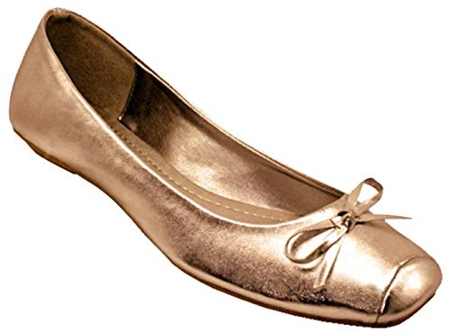 Best Bronze Metallic Ballet Flat Walking Shoes for Women Vegan Leather Low Platform Closed Toe Basic FitFlop Classic Holiday Dress Slipons Sandals Loafer Sale Her Ladies Teen Girl (Size 10, Bronze) (Metallic Leather Flats Ballet)