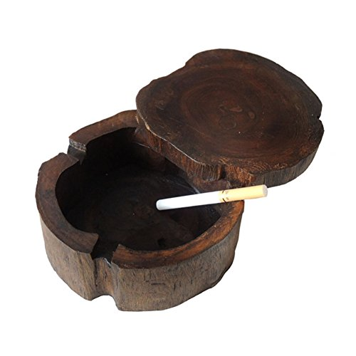 Carved Wood Hand Floors (Wooden ashtray with lid,Hand carved Unique crafts Windproof ashtray -A)