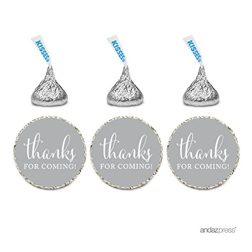 Andaz Press Chocolate Drop Labels Stickers, Thanks for Coming!, Gray, 216-Pack, for Wedding Birthday Party Baby Bridal Shower Hershey's Kisses Party Favors Decor Envelope Seals