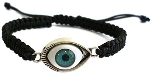 Moose546 Evil Eye Bracelet 6 to 10 Long with a Sliding Knot Adjustable Closure Braided Bracelet (Black)