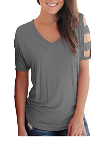 BLUETIME Women's Summer Short Sleeve Cut Out Cold Shoulder Tops BlousesTee Shirt Grey S
