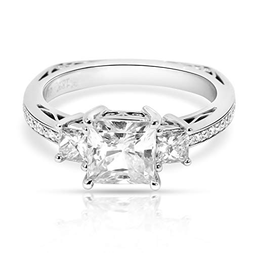 (Simon G Three Stone Princess Diamond Engagement Ring Setting in 18K Gold 0.38CTW)