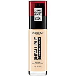 L'Oreal Paris Makeup Infallible Up to 24 Hour Fresh Wear Foundation, Snow, 1 Ounce