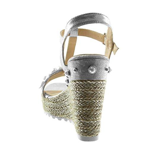 Angkorly Zapatillas Moda Sandalias Alpargatas Correa Plataforma Correa de Tobillo Mujer Flores Perla Brillantes Plataforma 12 cm Plata