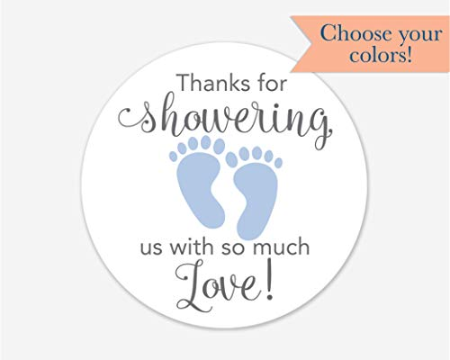 40ct, Baby Shower Stickers, Thanks for Showering us, Girl Boy and Gender Neutral Shower Stickers (#681-1-BG)