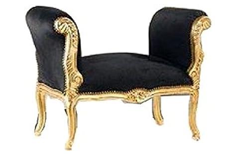 Casa padrino barocco sgabello nero oro panca: amazon.it: casa e cucina