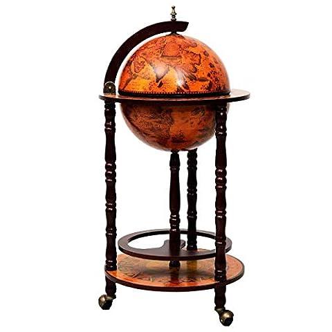 "Goplus 17"" Wood Globe Wine Bar Stand 16th Century Italian Rack Liquor Bottle Shelf with Wheels"