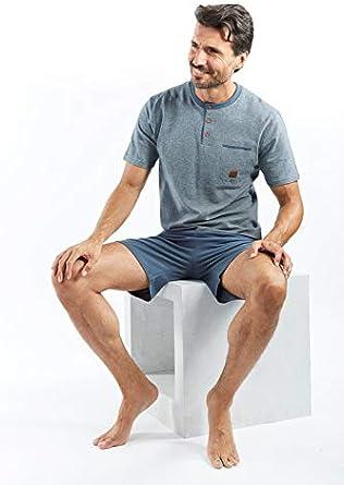 Articolo Scatolato completo uomo corto homewear TOP in piquet PANTA in gersey cotone MAGLIA MEZZA MANICA COLLO SERAFINO CON BOTTONCINI E PANTALONCINO Disponibile in due Varianti Colore