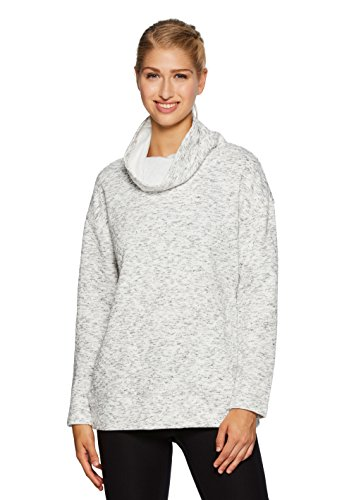 RBX Active Women's Ultra-Soft Quilted Cowl Neck Pullover White M