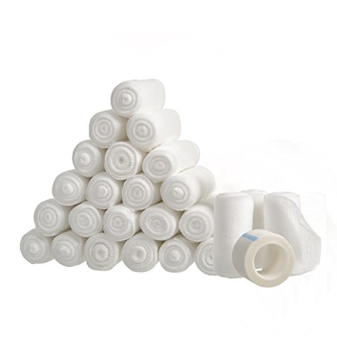 24 Gauze Bandage Rolls with Medical Tape, 2