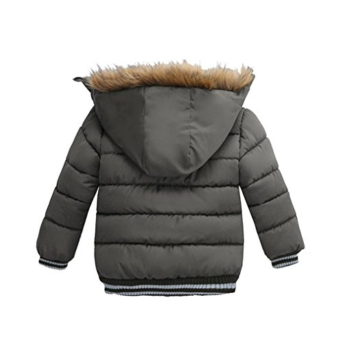 Kehen Kids Toddler Boy Girl Winter Fur Hooded Trench Coat Warm Down Jacket Thick Outerwear (Gray, 4T) by Kehen (Image #1)