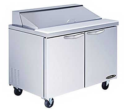 "Kool-It KST-48-2 Stainless Steel Sandwich Prep Table, 48-19/64"" Width x 42-1/2"" Height x 30"" Depth"