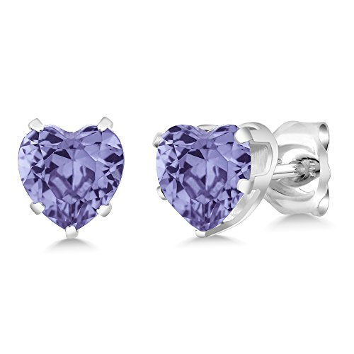 Gem Stone King 1.10 Ct Heart Shape Tanzanite Sterling Silver Stud Earrings 5mm