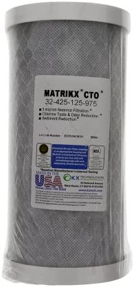 4.5 x 20 Inch Carbon Block Replacement Cartridges 2 2 with Genuine Can Holders KleenWater KX Matrikx 32-425-125-20 Compatible Water Filters