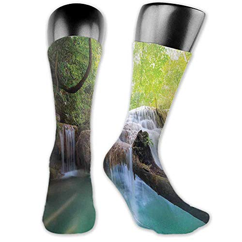- Shiny Socks Short Summer Thin Waterfall,Landscape with Flowing Water of Erawan Cascade in Rain Forest,Pale Green Turquoise Brown,socks for toddler girls grips