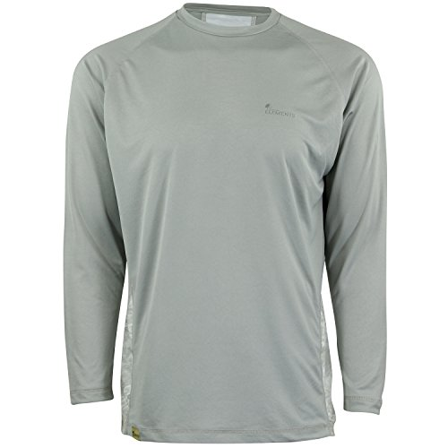 (Mossy Oak Long Sleeve Performance Moisture Wicking Fishing Shirt, Cool Grey/Bonefish, Large)