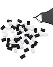 200 PCS Silicone Cord Locks Toggles Ends Fastener for Drawstrings,Elastic Rope Cord Adjuster Stopper Lanyard Buckle for Sewing Craft Work(White and Black)