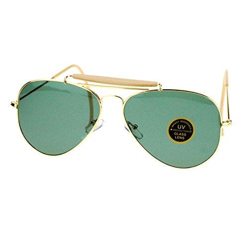 Green Glass Lens Vintage Designer Ear Wrap Aviator Sunglasses Gold - Vintage Sunglasses Wrap